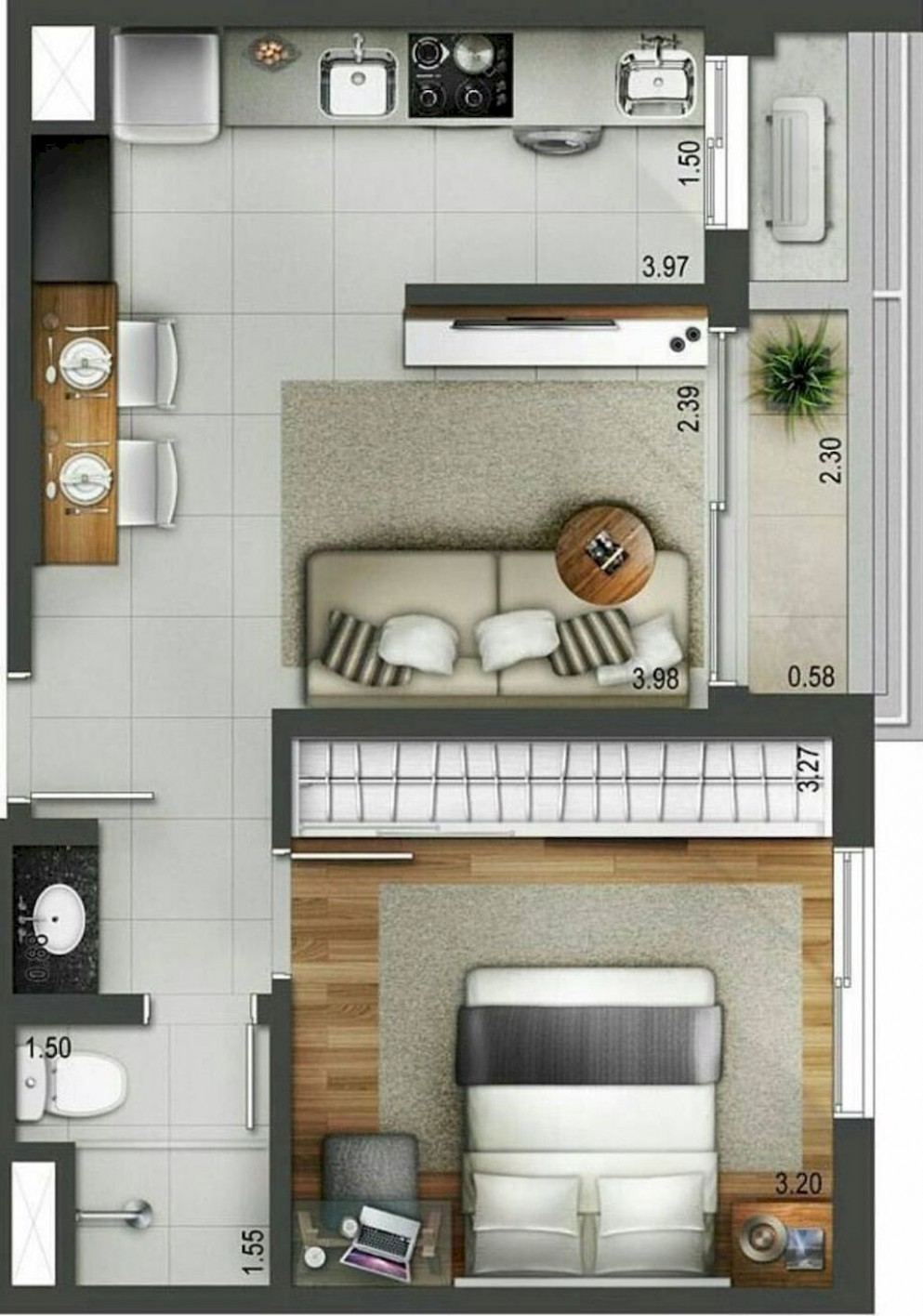 10+ Small Studio Apartment Layout Design Ideas - home design  - Design Apartment Kecil
