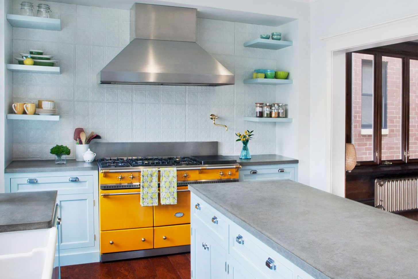 11 Blue Kitchen Ideas - Lovely Ways to Use Blue Cabinets and Decor  - Yellow Kitchen With Blue Cabinets