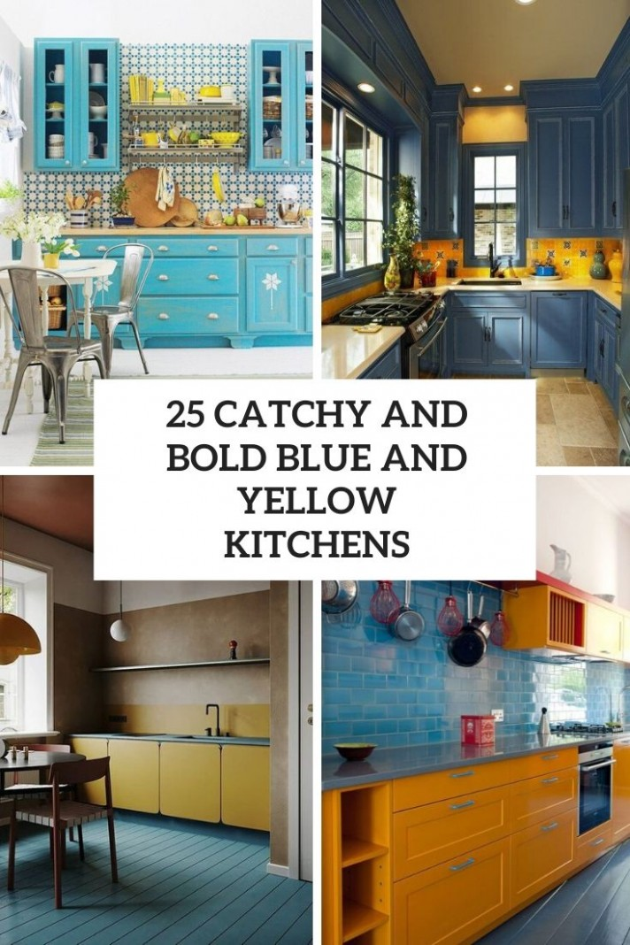 11 Catchy And Bold Blue And Yellow Kitchens - DigsDigs - Yellow Kitchen With Blue Cabinets
