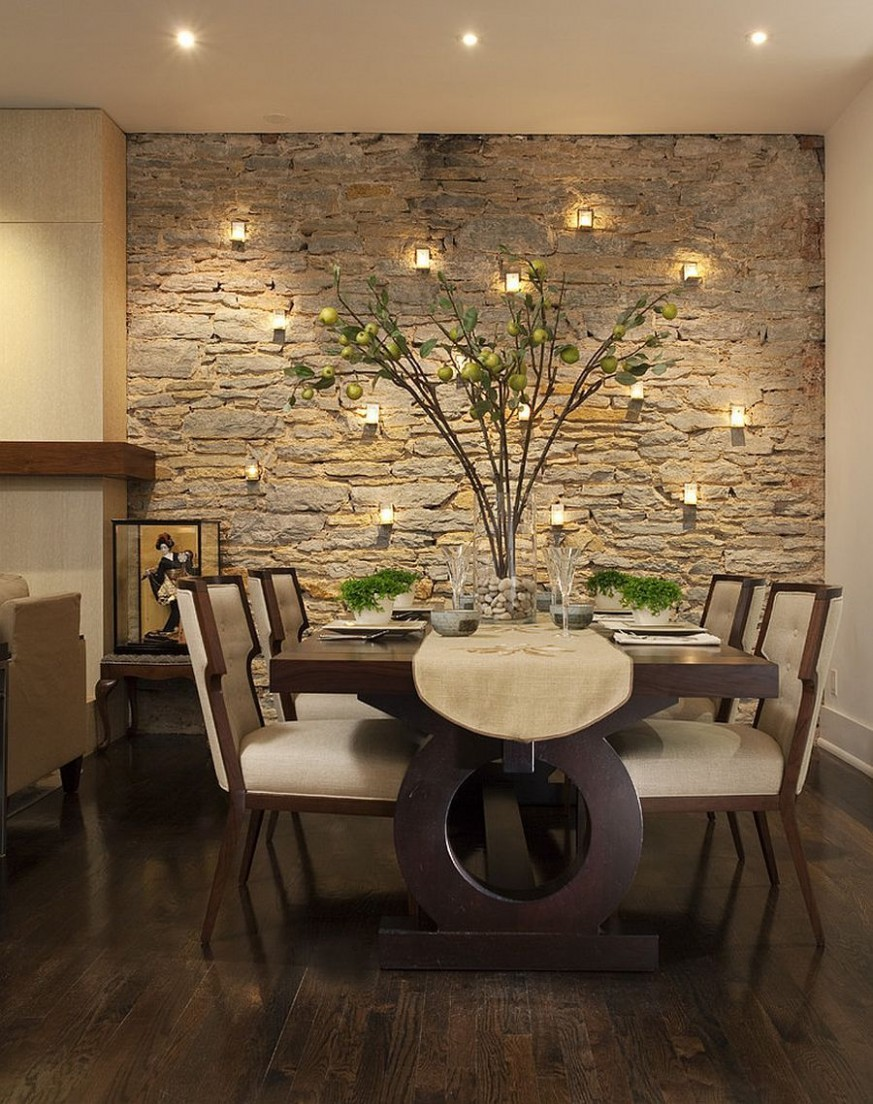 11 Gorgeous Dining Rooms with Stone Walls  Dining room accents  - Dining Room Ideas For Walls