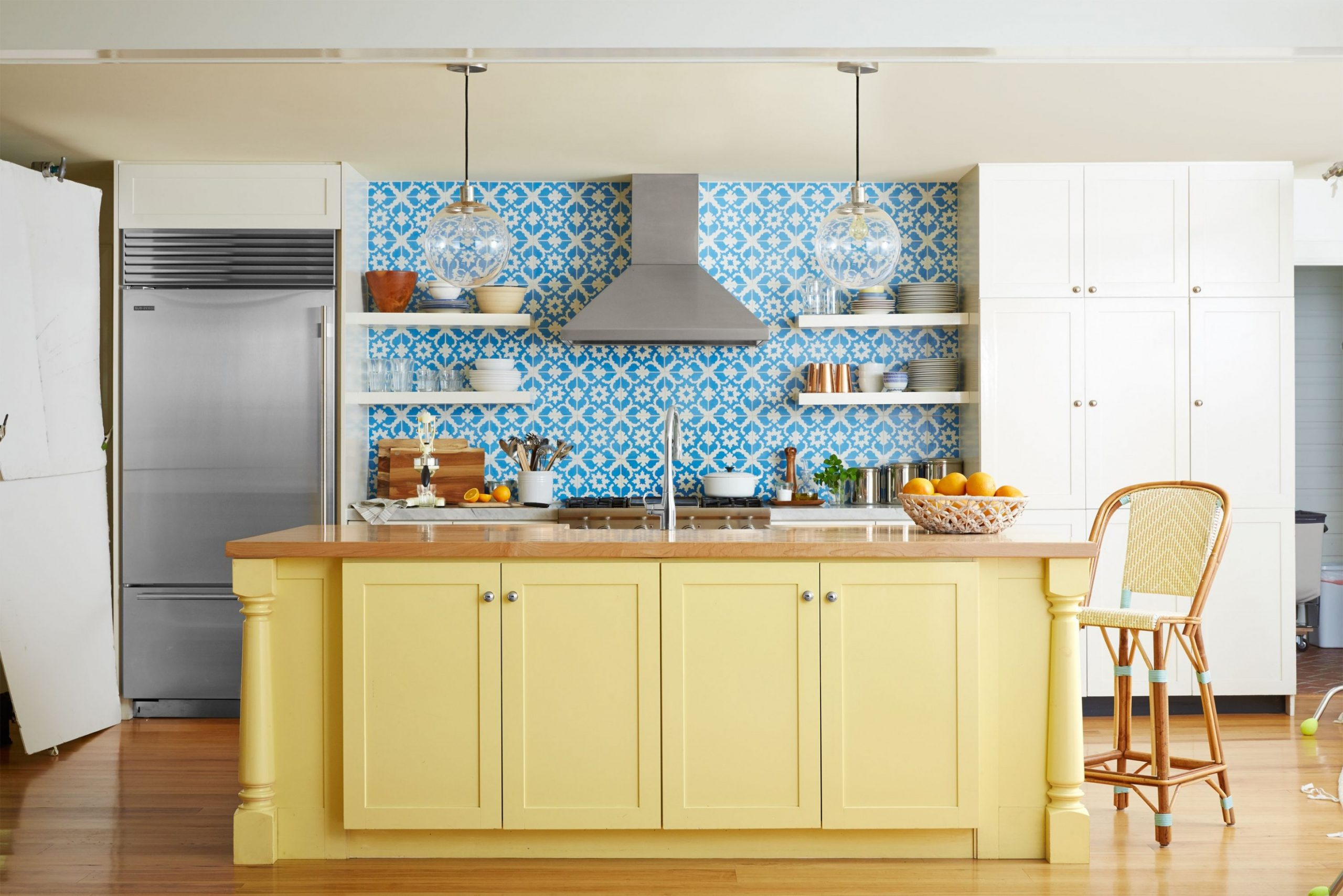 11 Kitchen Color Ideas - Best Kitchen Paint Color Schemes - Yellow Kitchen With Blue Cabinets