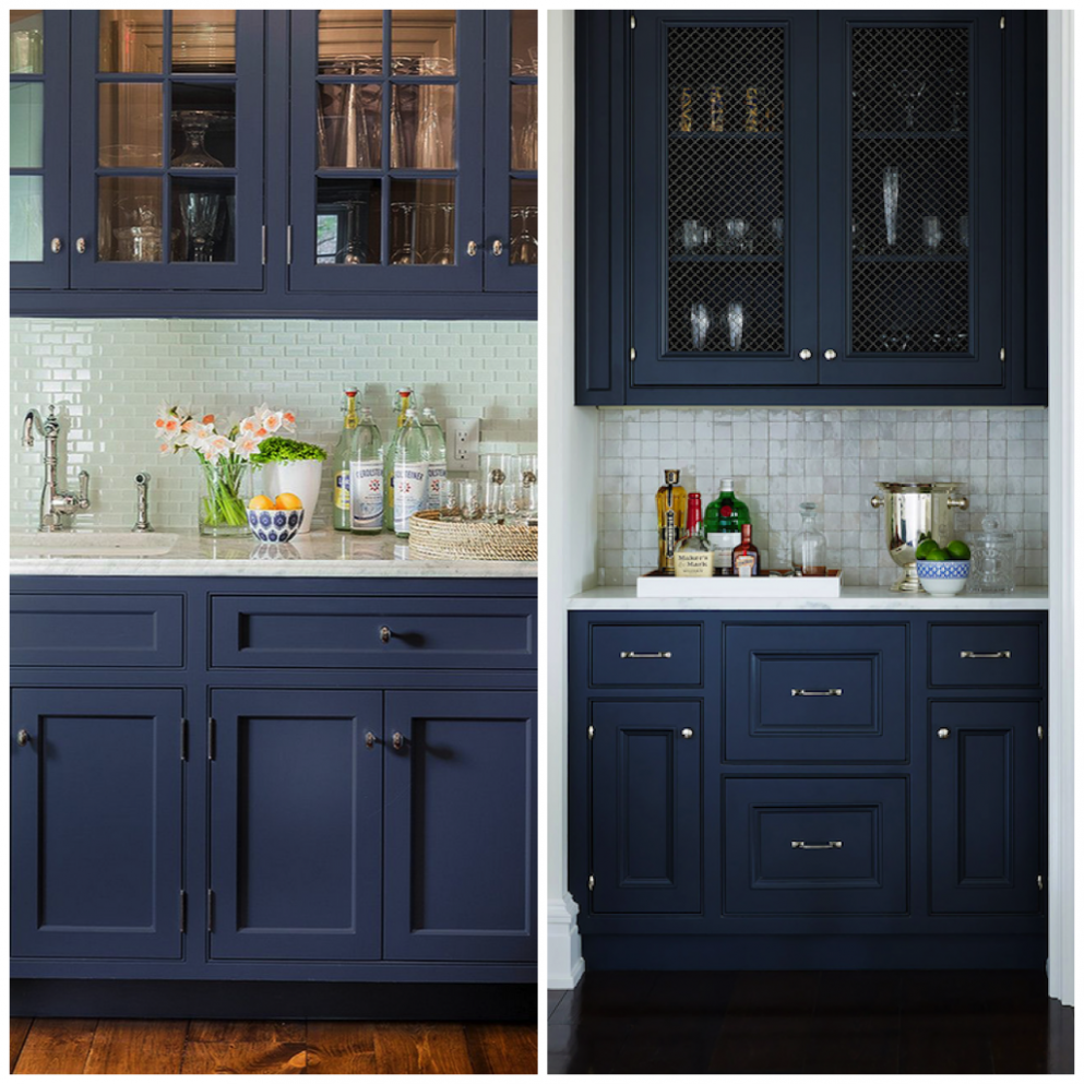 11 Ways to Use Navy Blue in Your Kitchen  Big Chill - Yellow Kitchen With Blue Cabinets