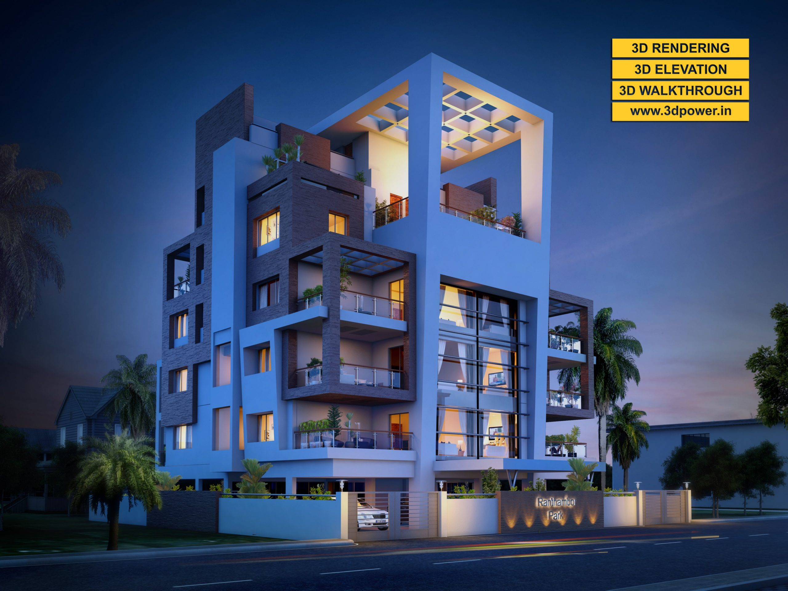 11D Modern Apartment day & night rendering and elevation design by  - Apartment Design Elevation