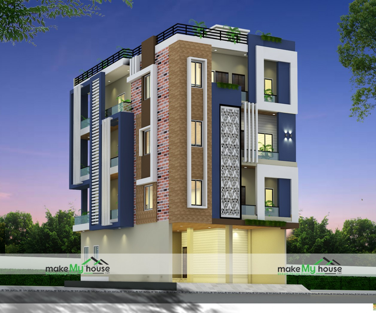 11X11 Multistory Apartment Plan  11 SqFt Multistory Apartment  - Apartment Design Elevation