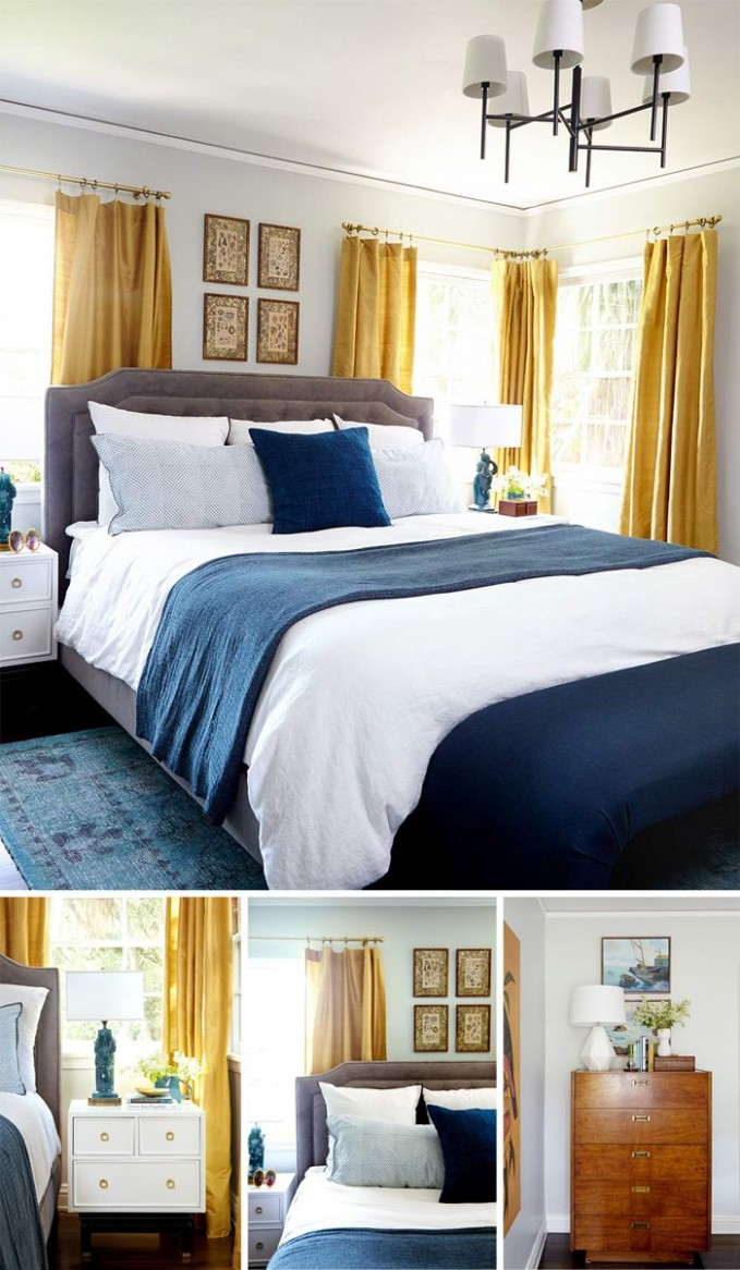 12 bedrooms - You Choose - Emily Henderson  Blue and gold bedroom  - Bedroom Ideas Yellow And Blue