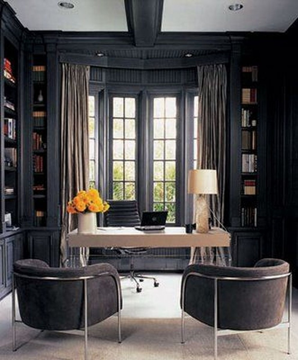 12+ Best Home Office Ideas With Black Walls - TRENDECORS - Home Office Ideas Black
