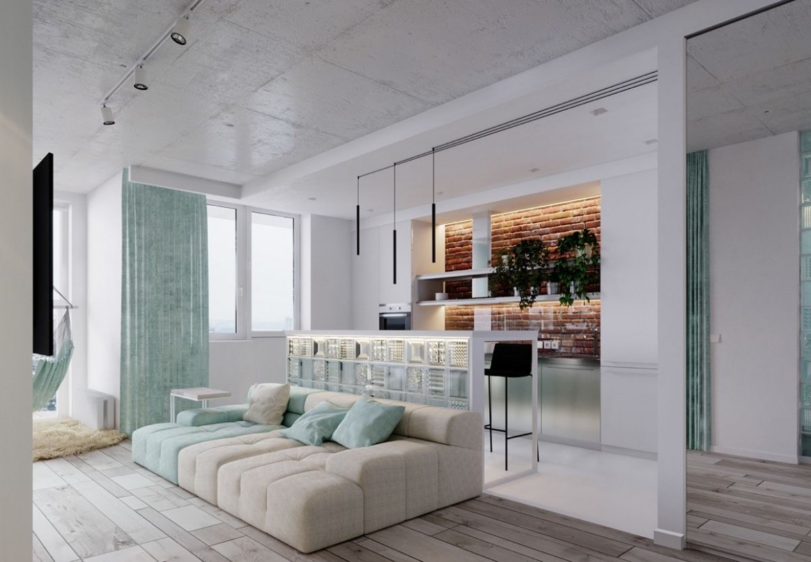 12 Bright Studio Apartments With Creative Bedroom Placement  - Apartment Design Color Scheme