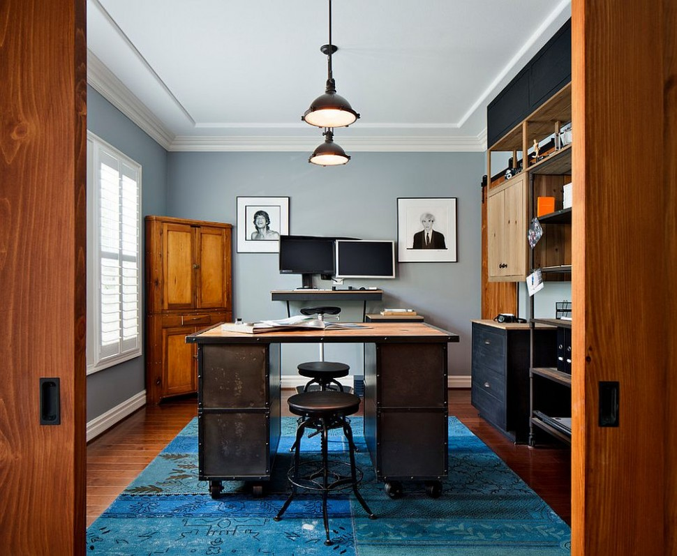 12 Colorful Ways to Enliven Your Gray Home Office - Home Office Ideas Carpet