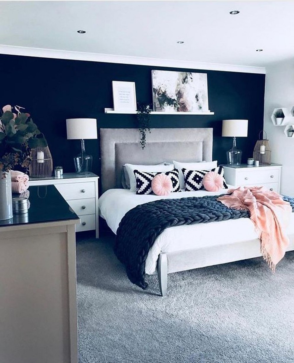 12+ Fancy Master Bedroom Color Scheme Ideas - TRENDHMDCR  Master  - Bedroom Ideas Navy And White