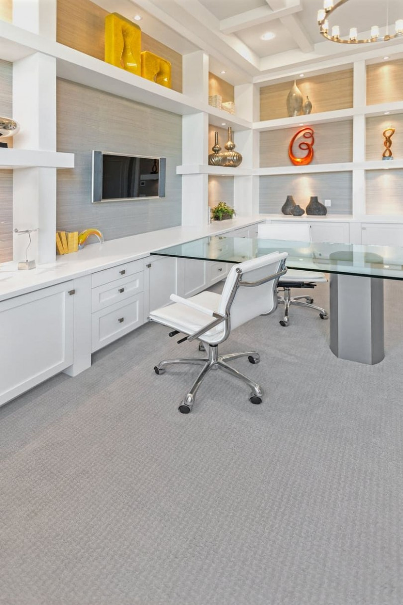 12 Really Great Home Office Ideas (Photos)  White cabinetry, Home  - Home Office Ideas Carpet