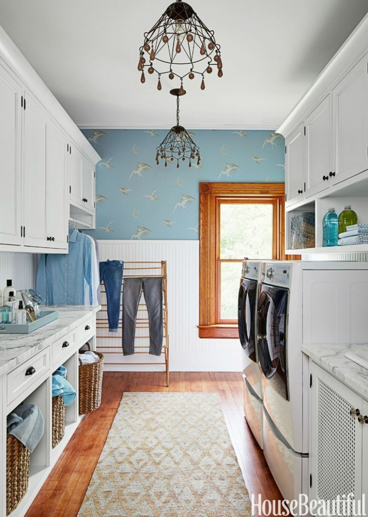 12 Small Laundry Room Ideas - Small Laundry Room Storage Tips - Laundry Room Office Ideas