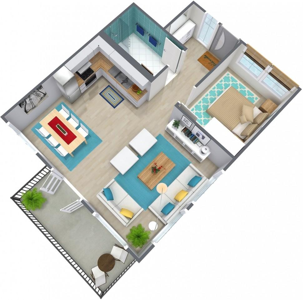 8 Bedroom Apartment Floor Plan  RoomSketcher - Apartment Design Floor Plan