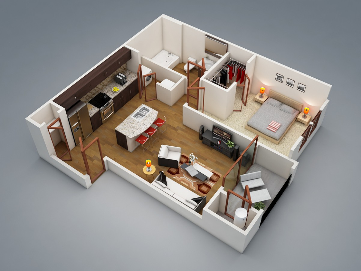 8 Bedroom Apartment/House Plans - Apartment Design One Bedroom