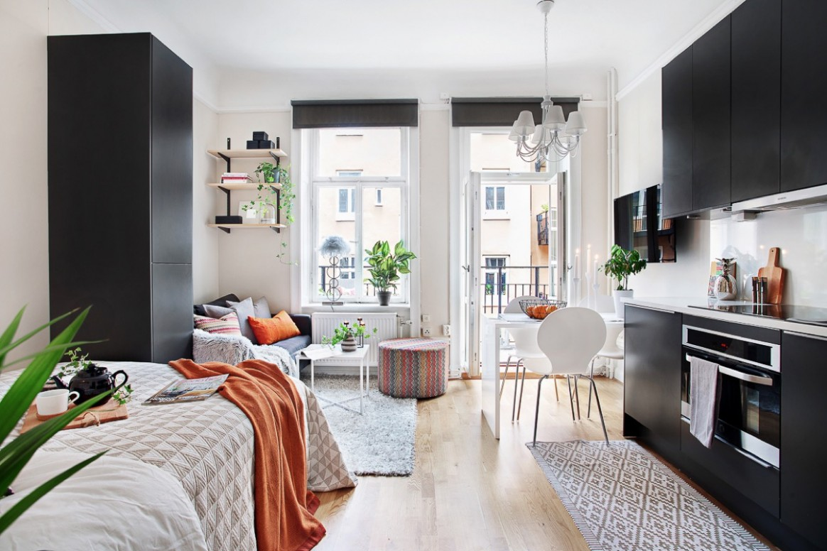 8 Small Studio Interior Designs That Give Little Places A Lift - One Room Apartment Decor Ideas