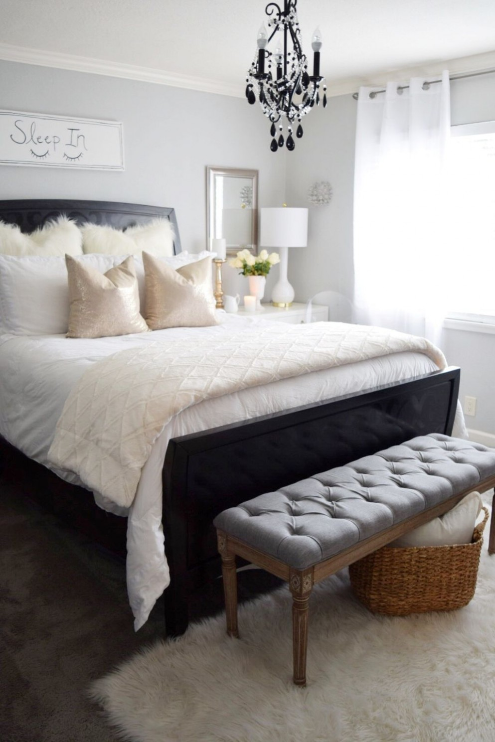 9 Best Stylish Black and White Bedroom Ideas - ROUNDECOR  White  - Bedroom Ideas With Dark Furniture