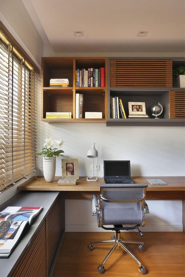 9-home-office-com-sofá #Apartmenthomeoffice  Desain interior  - Home Office Ideas On Pinterest