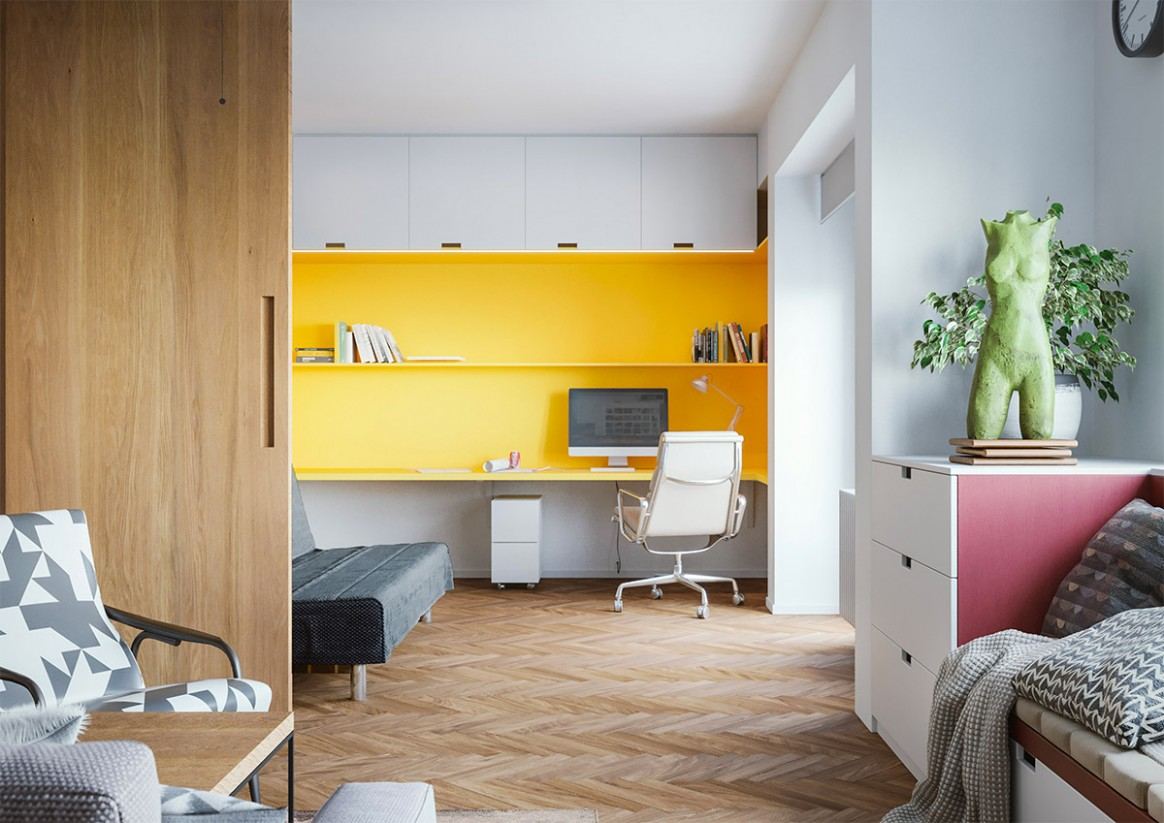 9 Home Workspace Designs With Ideas, Tips And Accessories To Help  - Yellow Home Office Decorating Ideas