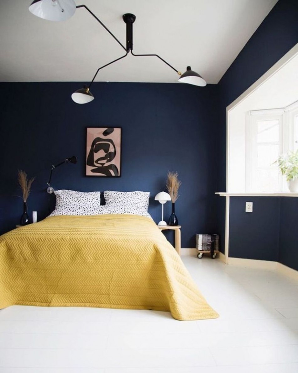 9 Mixing Blue And Mustard For Interior (9)  Blue bedroom decor  - Bedroom Ideas Mustard