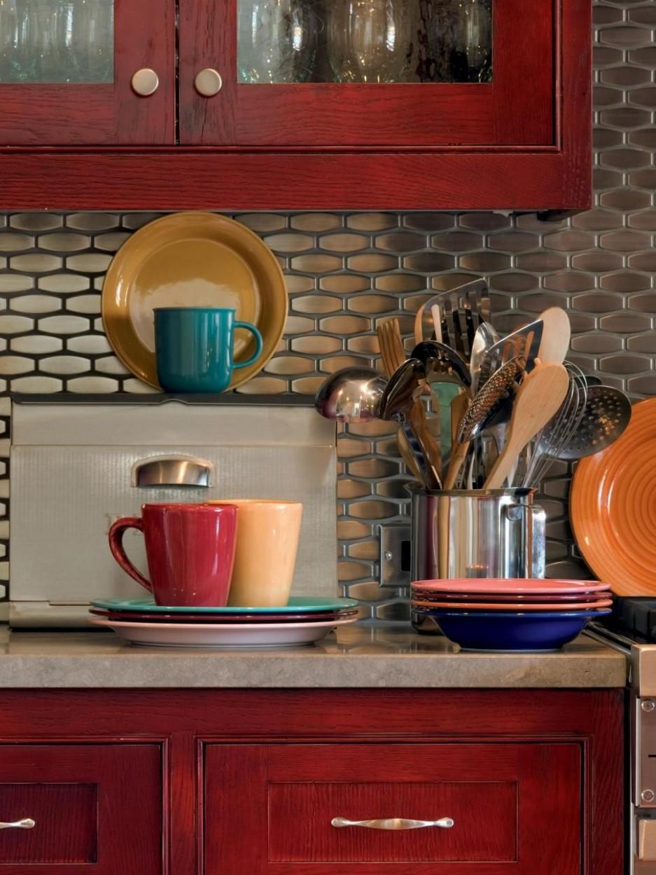 9 Stainless Steel Kitchen Backsplashes  Red kitchen cabinets  - Backsplash For Red Kitchen Cabinets