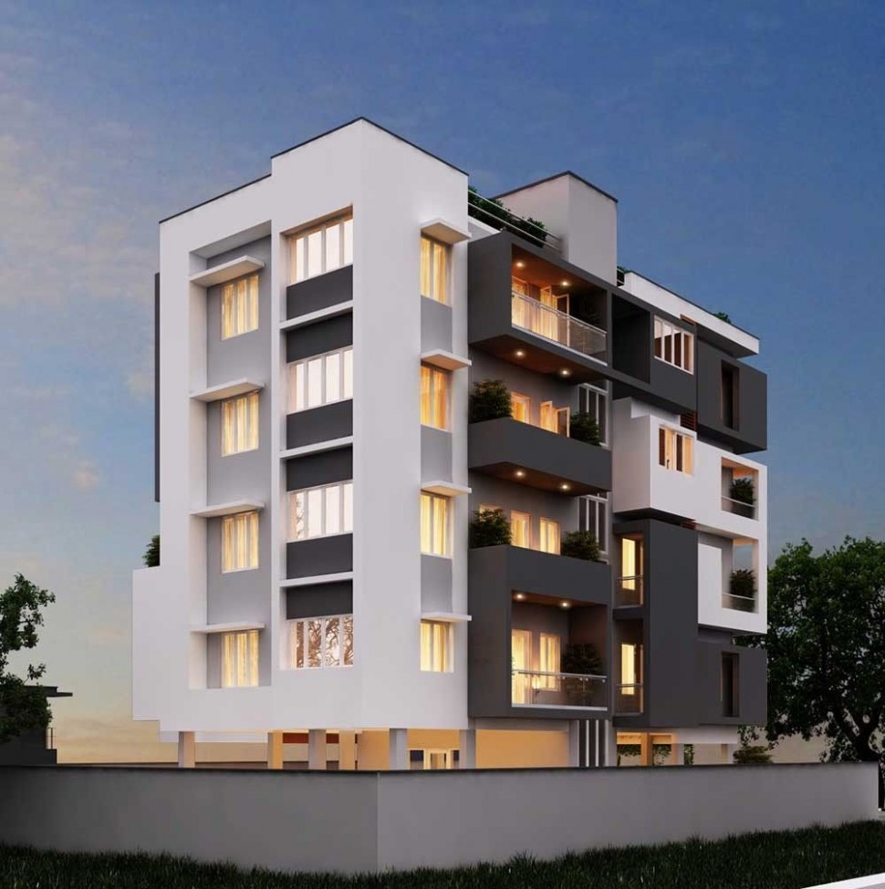 9 unit apartment building plans architecture case study on  - Apartment Exterior Design India