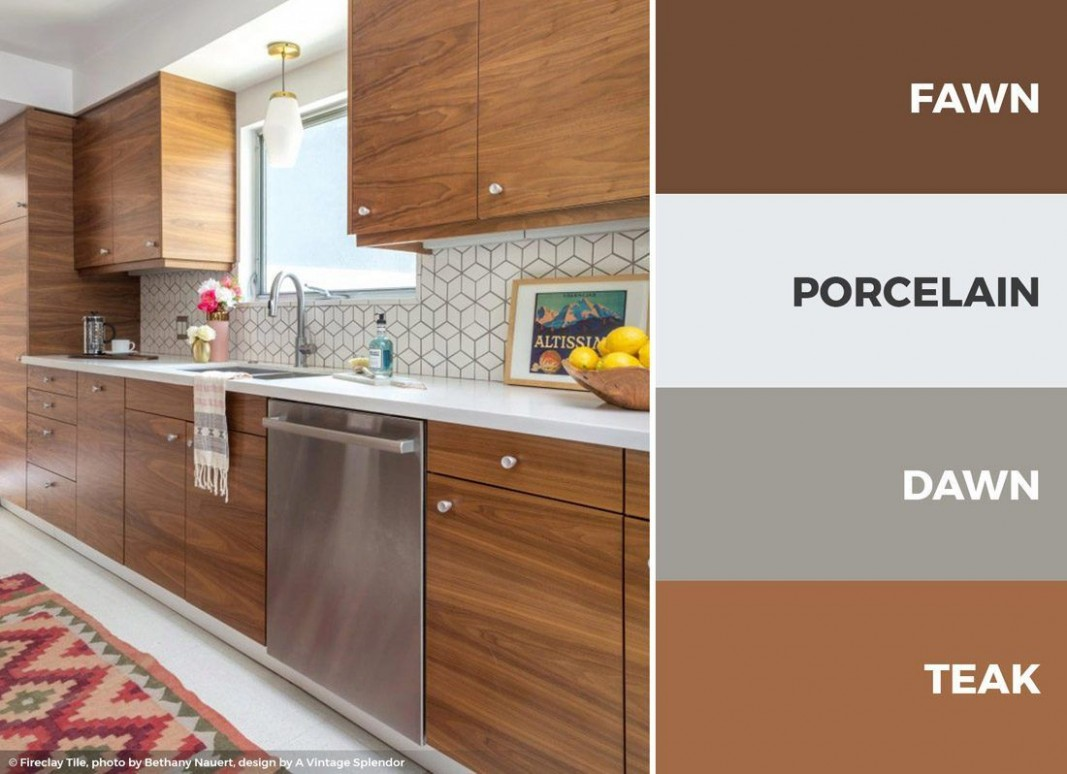 A brown and white kitchen color scheme makes for a great earthy  - Brown Colored Kitchen Cabinets