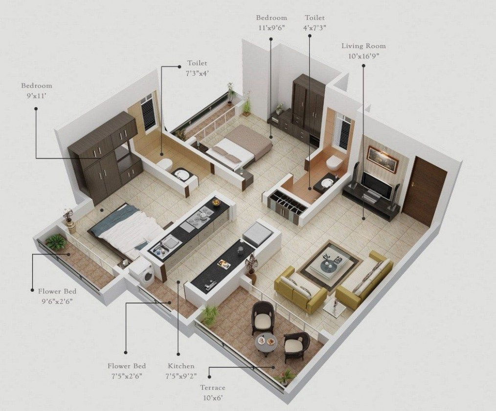 A two room apartment, the name says it, is a flat, usually small  - Apartment Design Names