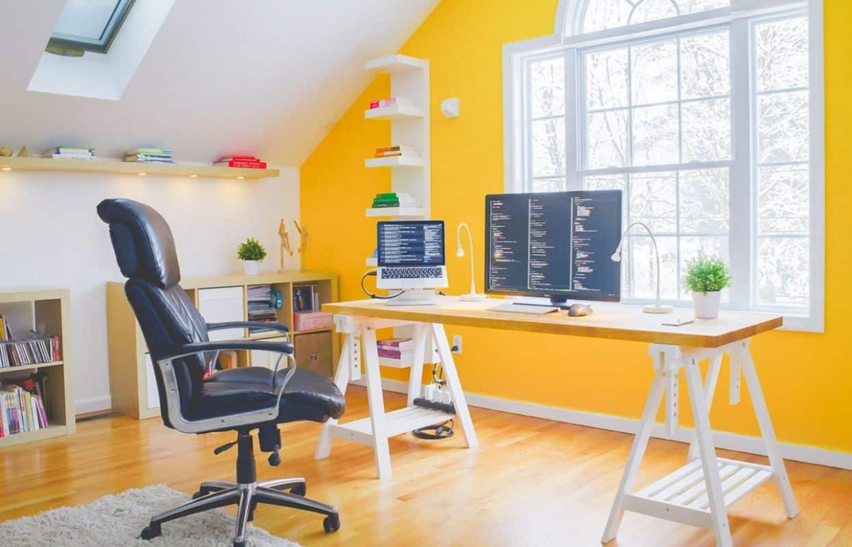 Amazing Home Office Decorating Ideas  Home office colors, Home  - Yellow Home Office Decorating Ideas