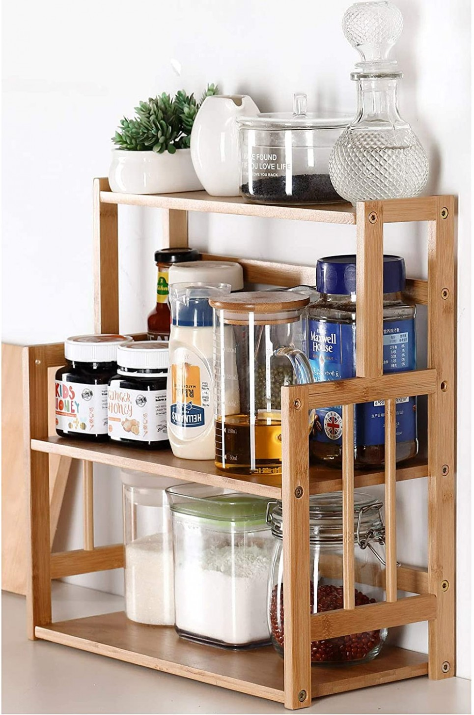 Amazon.com: Bamboo Spice Rack Storage Shelves-9 tier Standing  - 26 X10