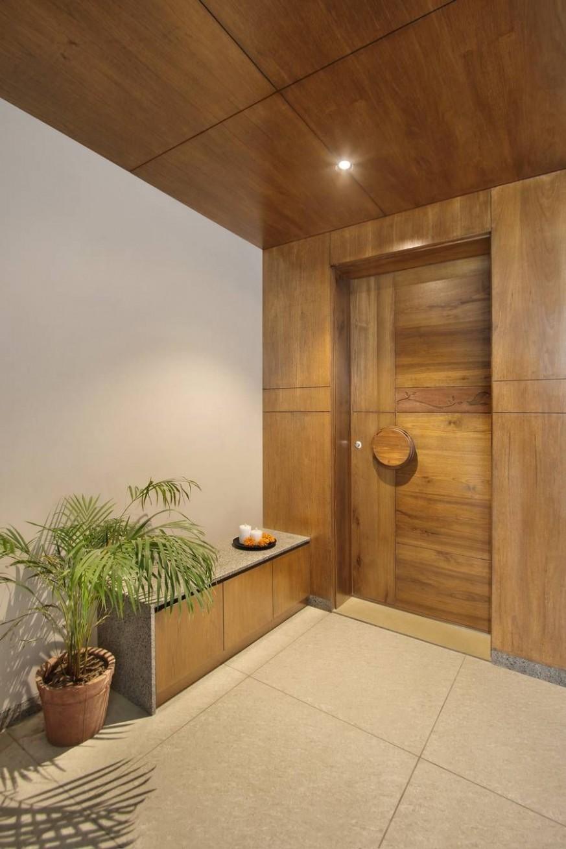 Antriksh Apartment – a+t associates  Main door design, Apartment  - Apartment Entrance Design
