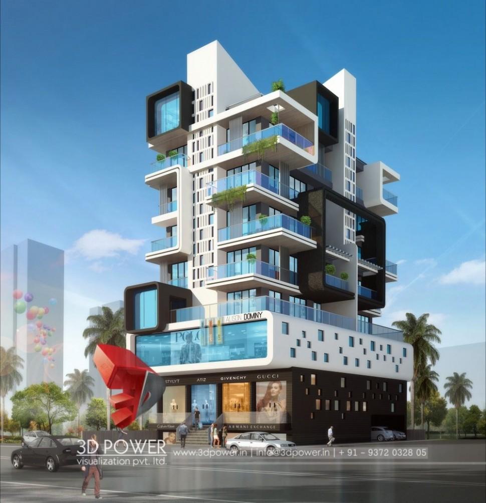 Apartment Design Rendering  9D Contemporary Modern Apartment  - Apartment Exterior Design India