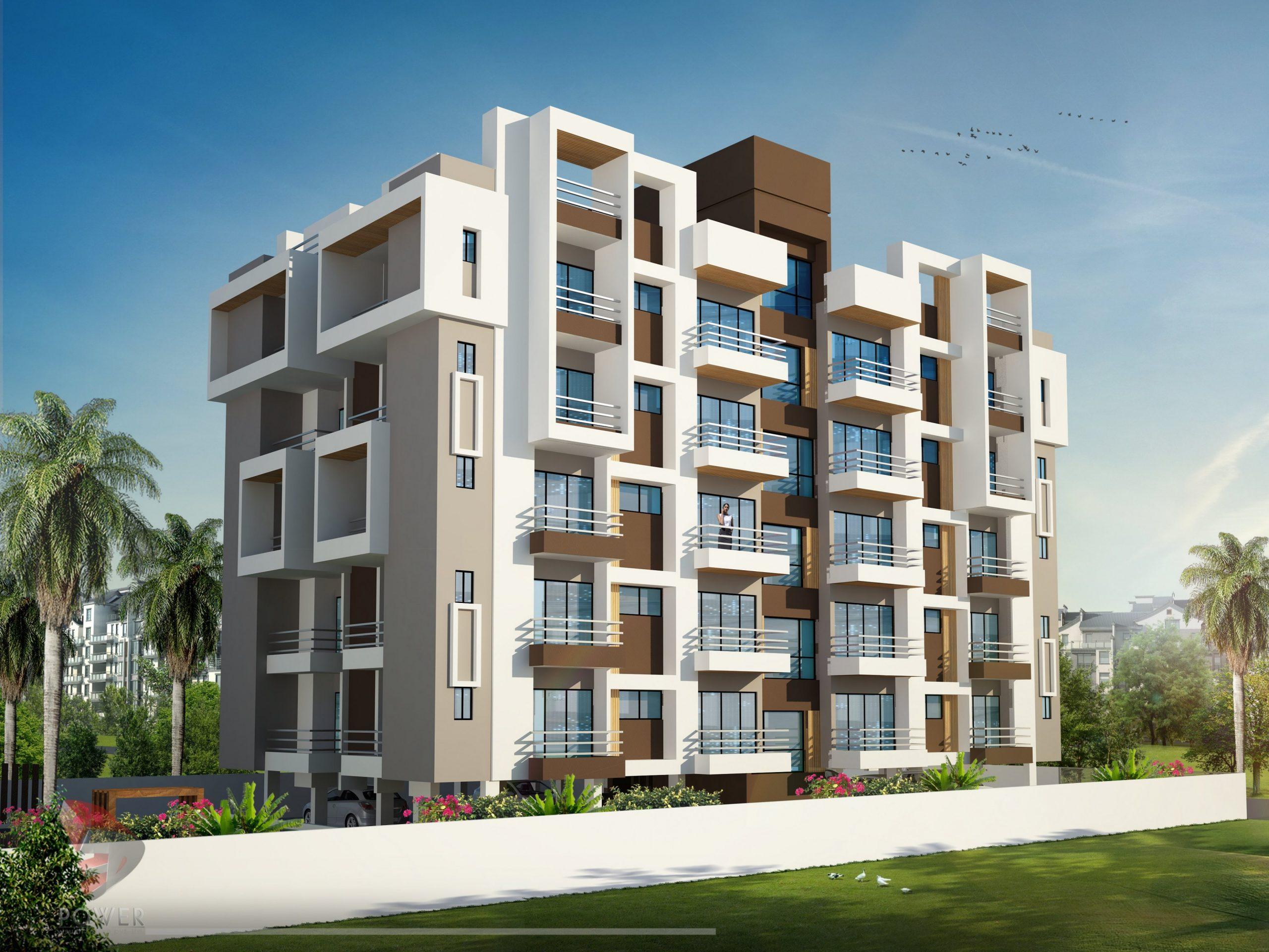Apartment Elevation Designing  11D Architectural Rendering  - Apartment Design Elevation