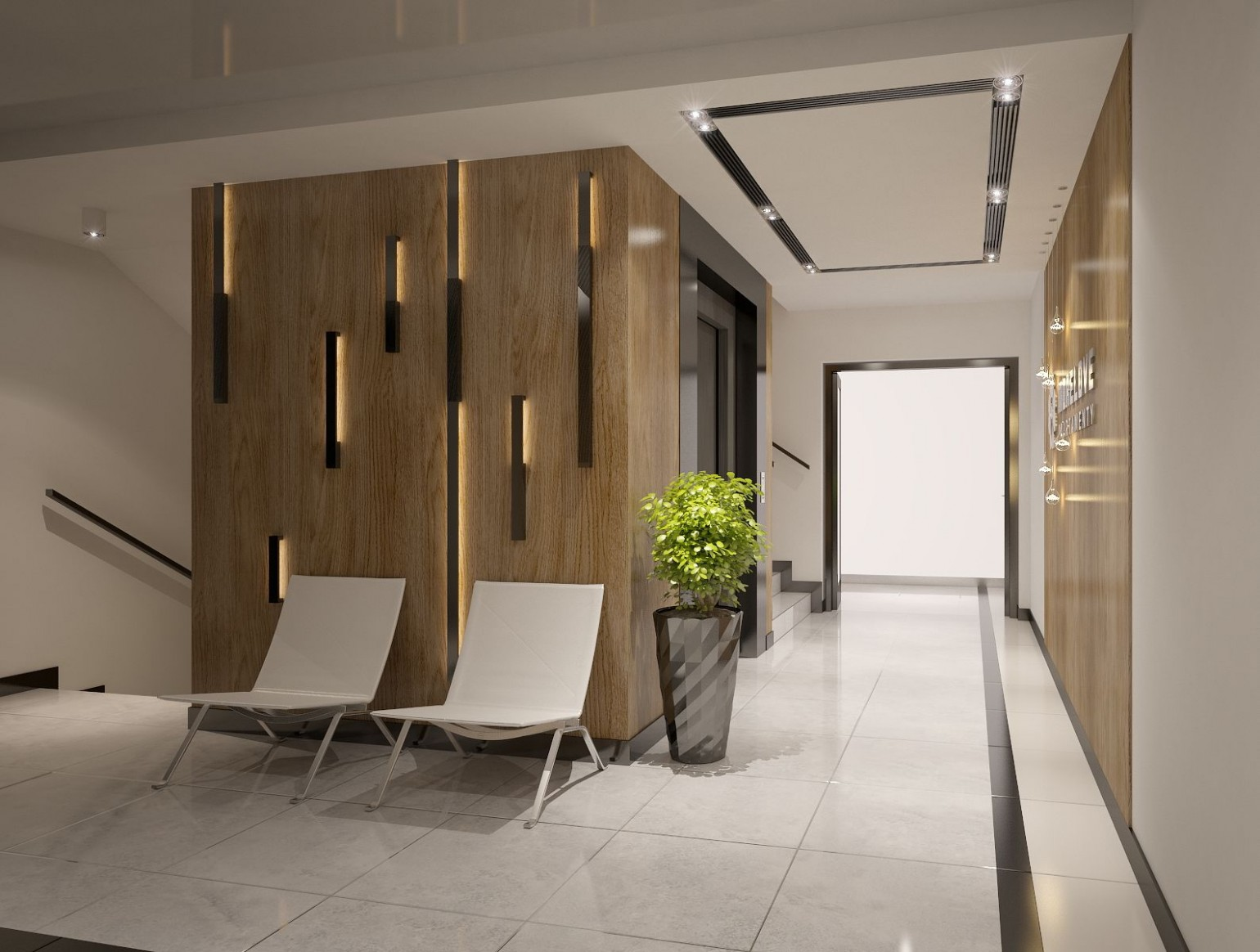Apartments building Entrance Hall area Foyer Lobby with elevator  - Apartment Entrance Design