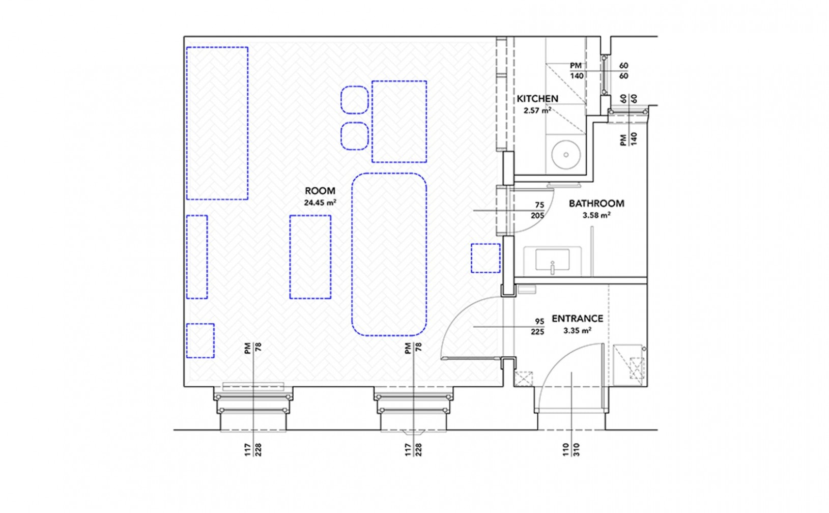 Architectural Drawings: 8 Clever Plans for Tiny Apartments  - Apartment Design Drawing