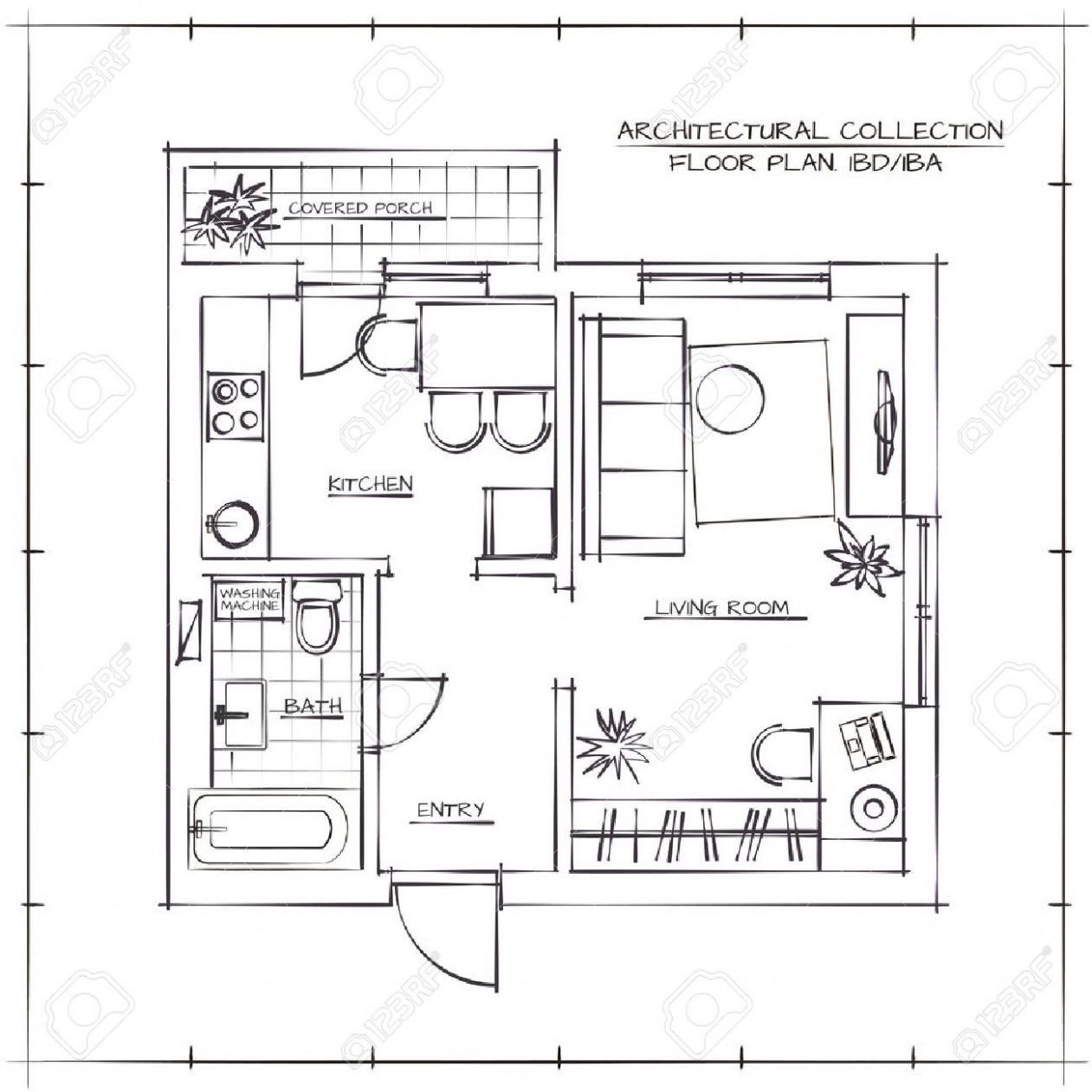Architectural Hand Drawn Floor Plan