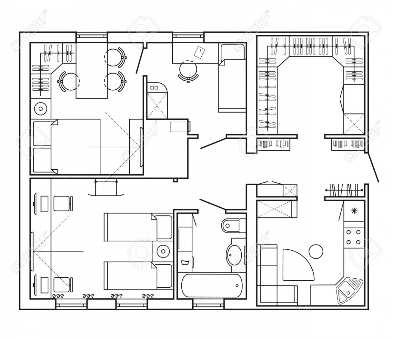 Architectural plan of a house. Layout of the apartment with the.