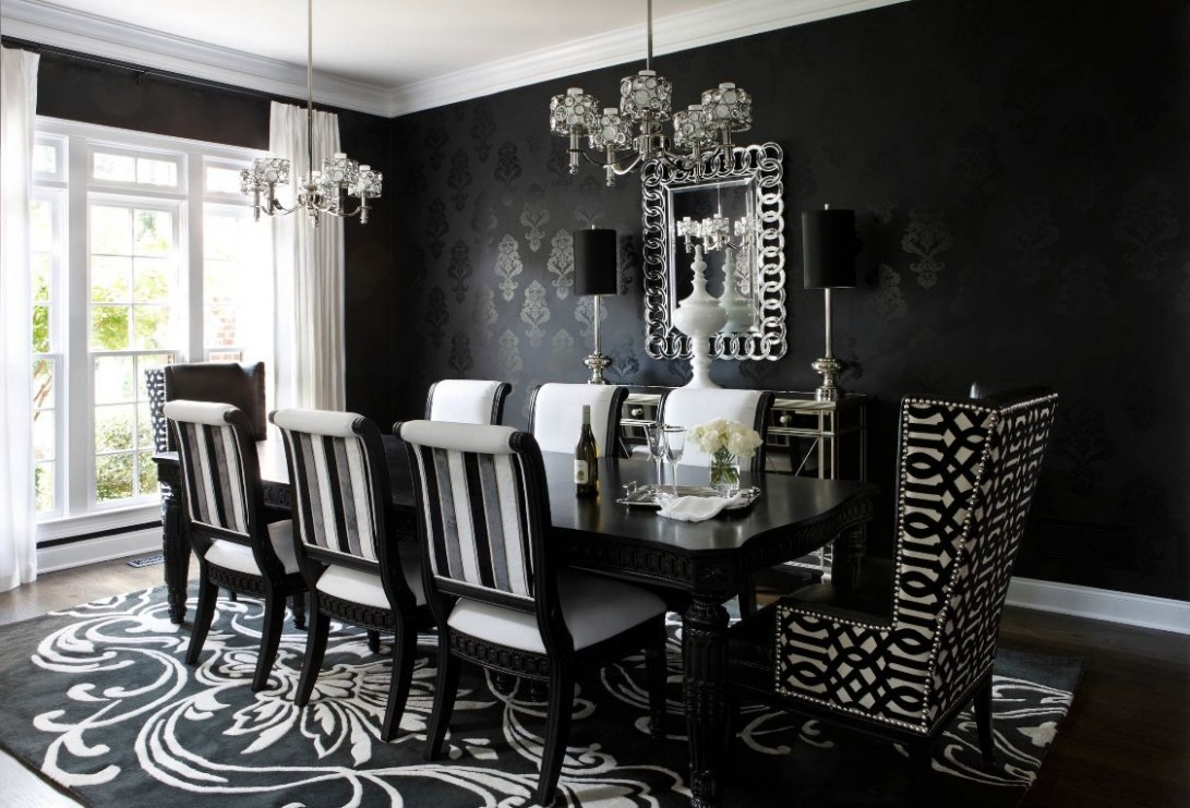 Art Deco Dining Room in Black and White  Dining room victorian  - Dining Room Ideas Black And White