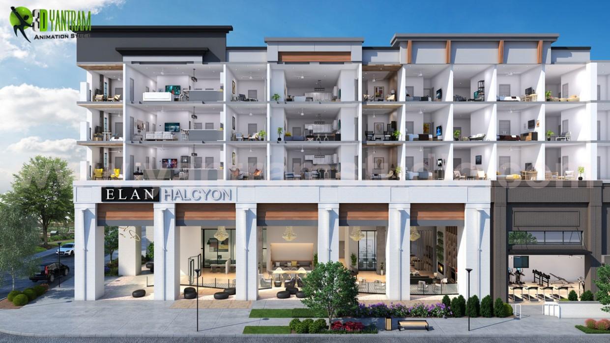 ArtStation - 12D Virtual Cut Section of Floor Plan Exterior  - Apartment Unit Design