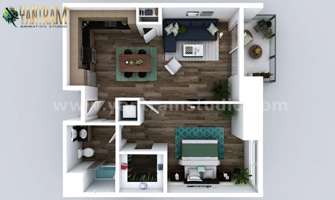 ArtStation - New Style One Bedroom Apartment 8D Floor Plan Design  - Apartment Design One Bedroom
