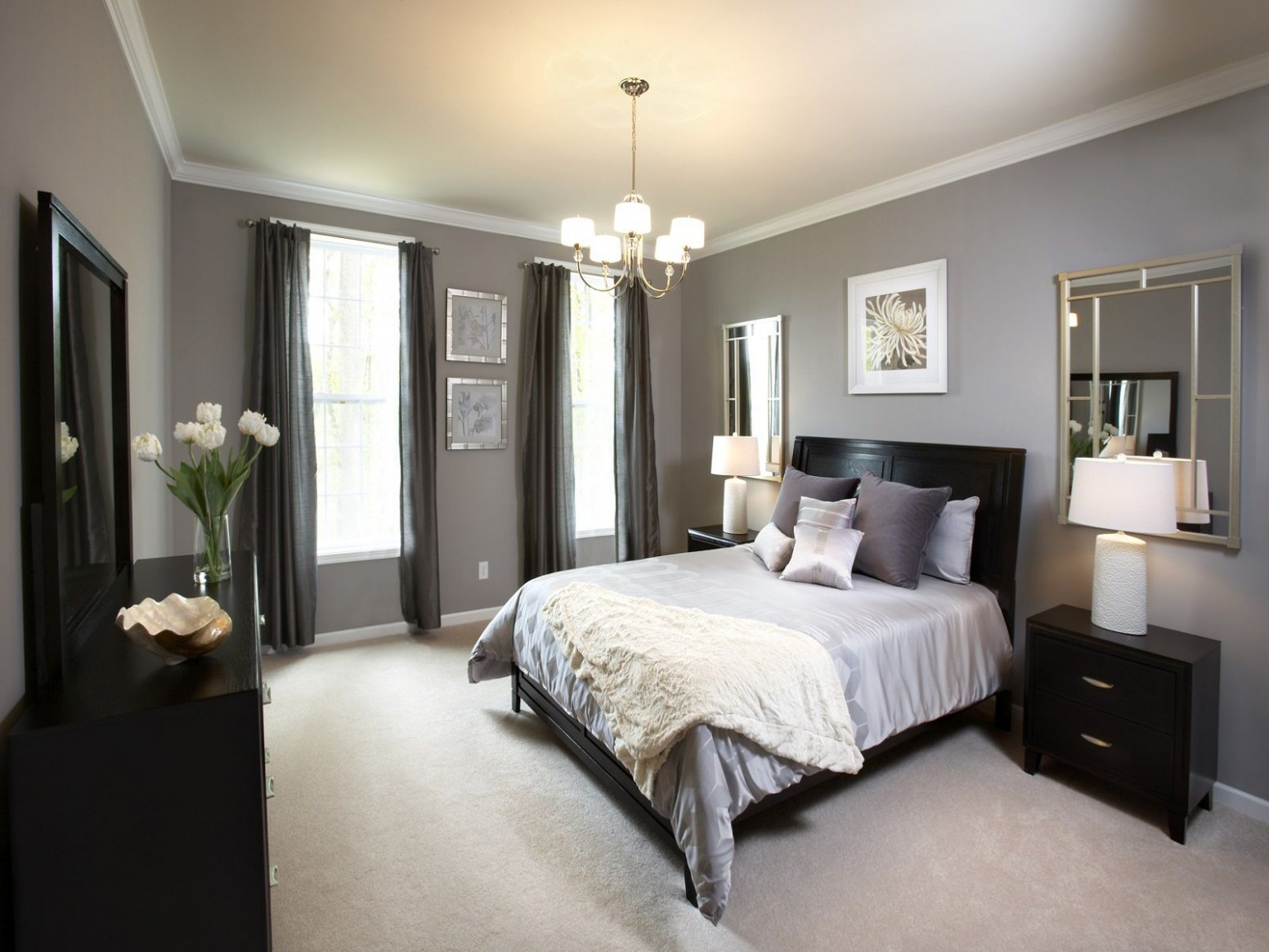 Awesome Bedroom Shade Chandelier Over White Bedding Ideas With  - Bedroom Ideas With Dark Furniture