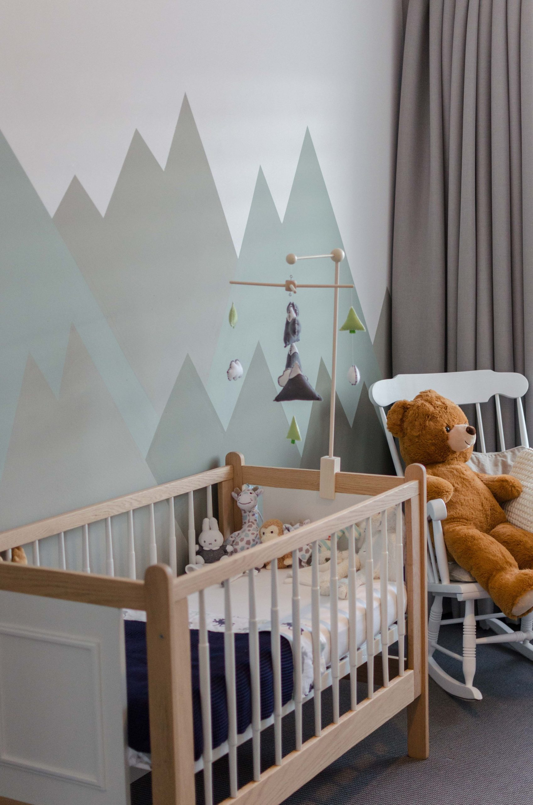 Baby boy mountain theme vintage crib wood mountain nursery babyboy  - Baby Room Mountain Theme