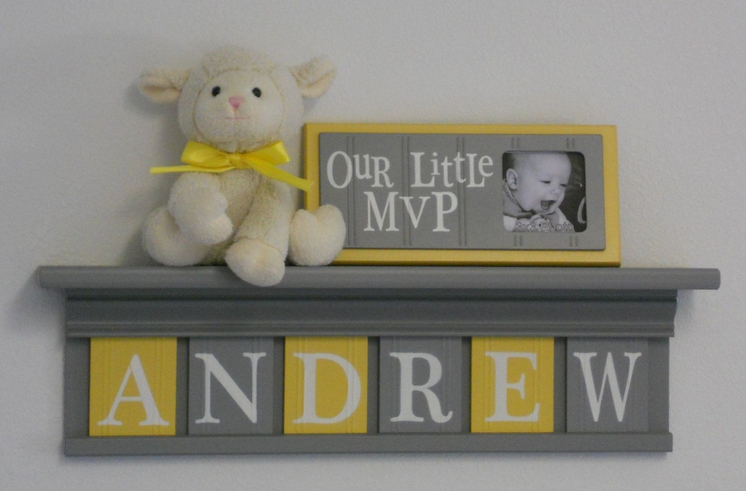 Baby Boy Room Decoration Name Nursery Decor Shelf Gray with Wooden  - Baby Room Name Decor