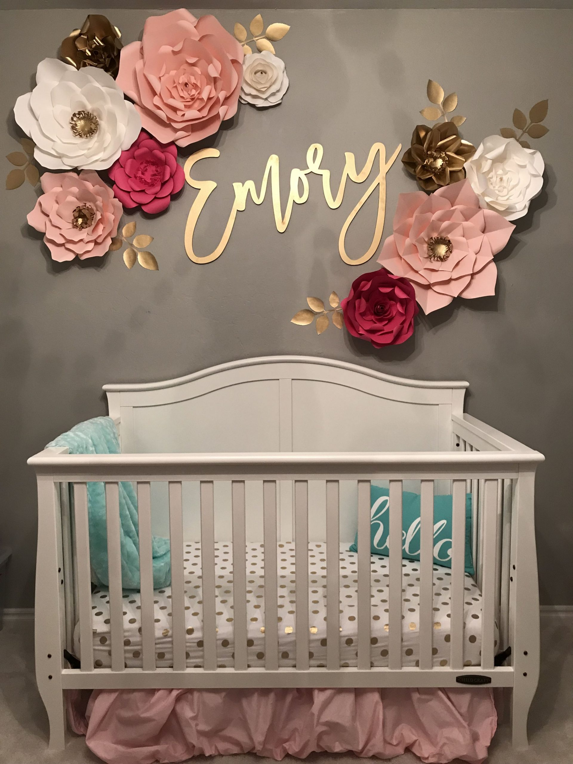 Baby girl nursery - name decal - wall flowers  Baby girl room  - Baby Room Name Decor