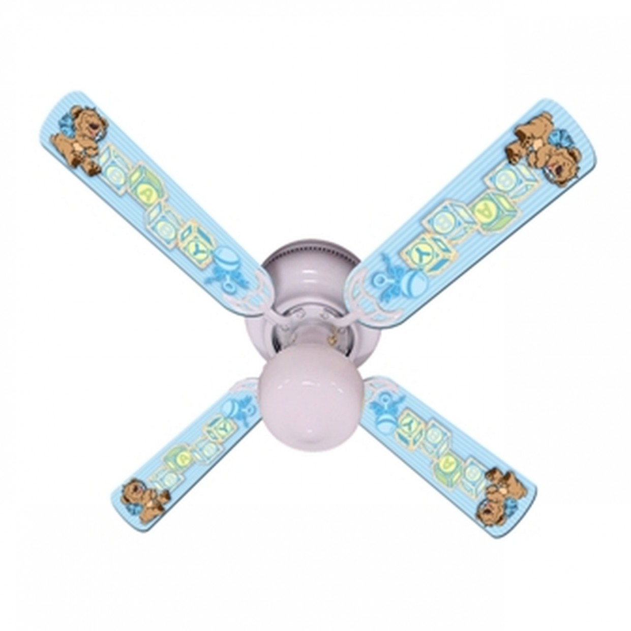 "Baby Nursery Toys Blocks Blue Ceiling Fan 8"" - Baby Room Ceiling Fan"