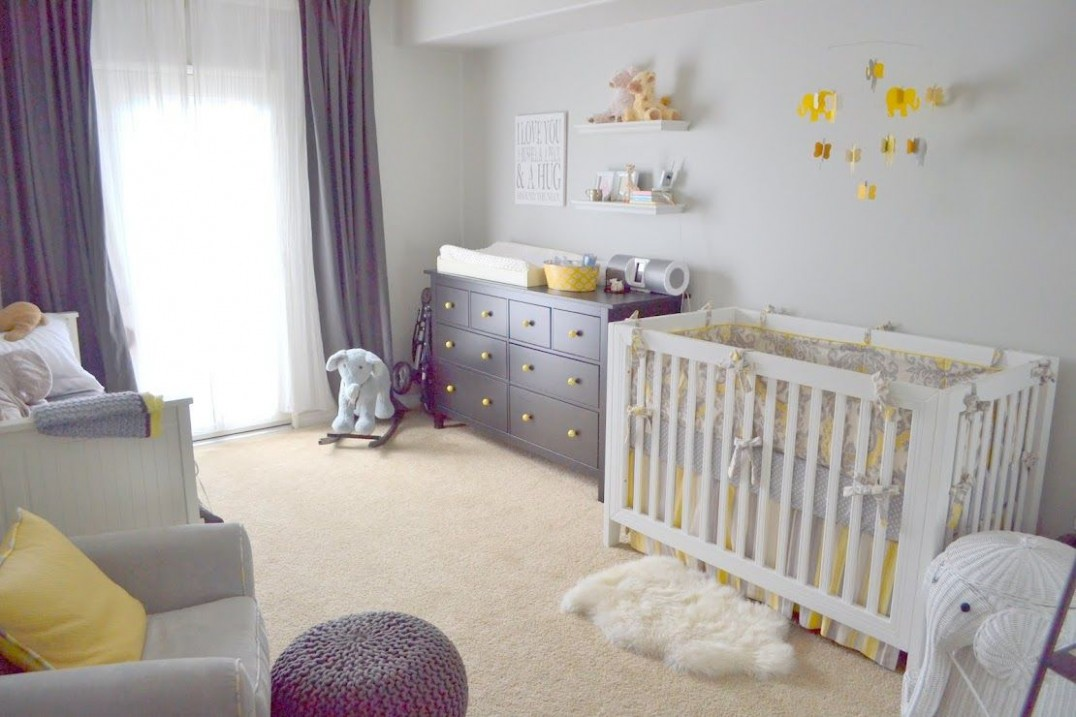 Baby nursery with grey/cream/yellow colors
