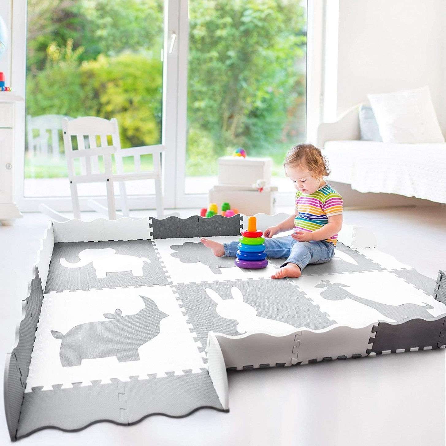 Baby Play Mat with Large Interlocking Foam Floor Tiles. Grey and White Non  Toxic Playmat for Baby, Toddler or Kids