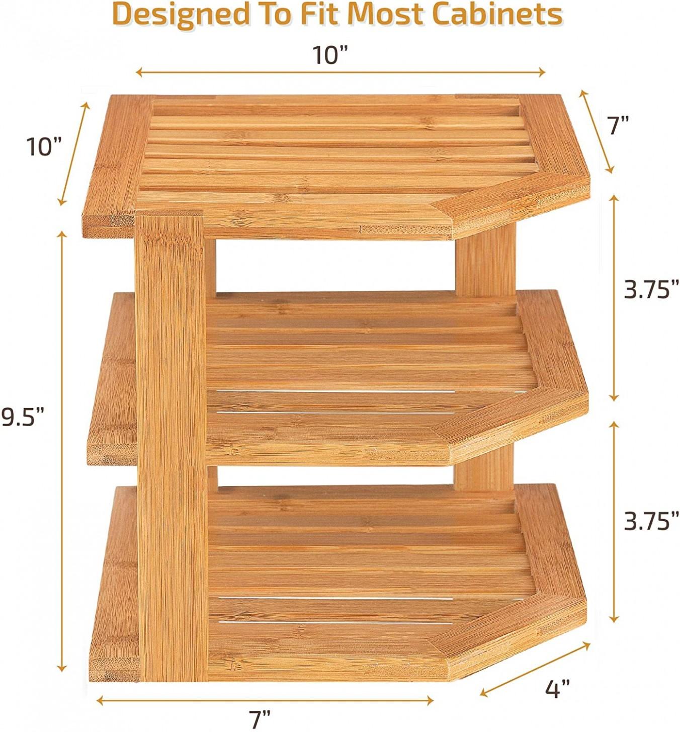 Bamboo Corner Shelf Storage Organizer - 9 Tier Kitchen Corner Rack for  Plates - Countertop, Cabinet & Pantry Organization - 26 X10