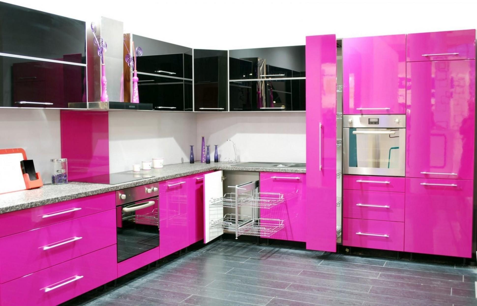 beautiful modern open kitchen design with pink gloss kitchen  - Pink And Purple Kitchen Cabinets