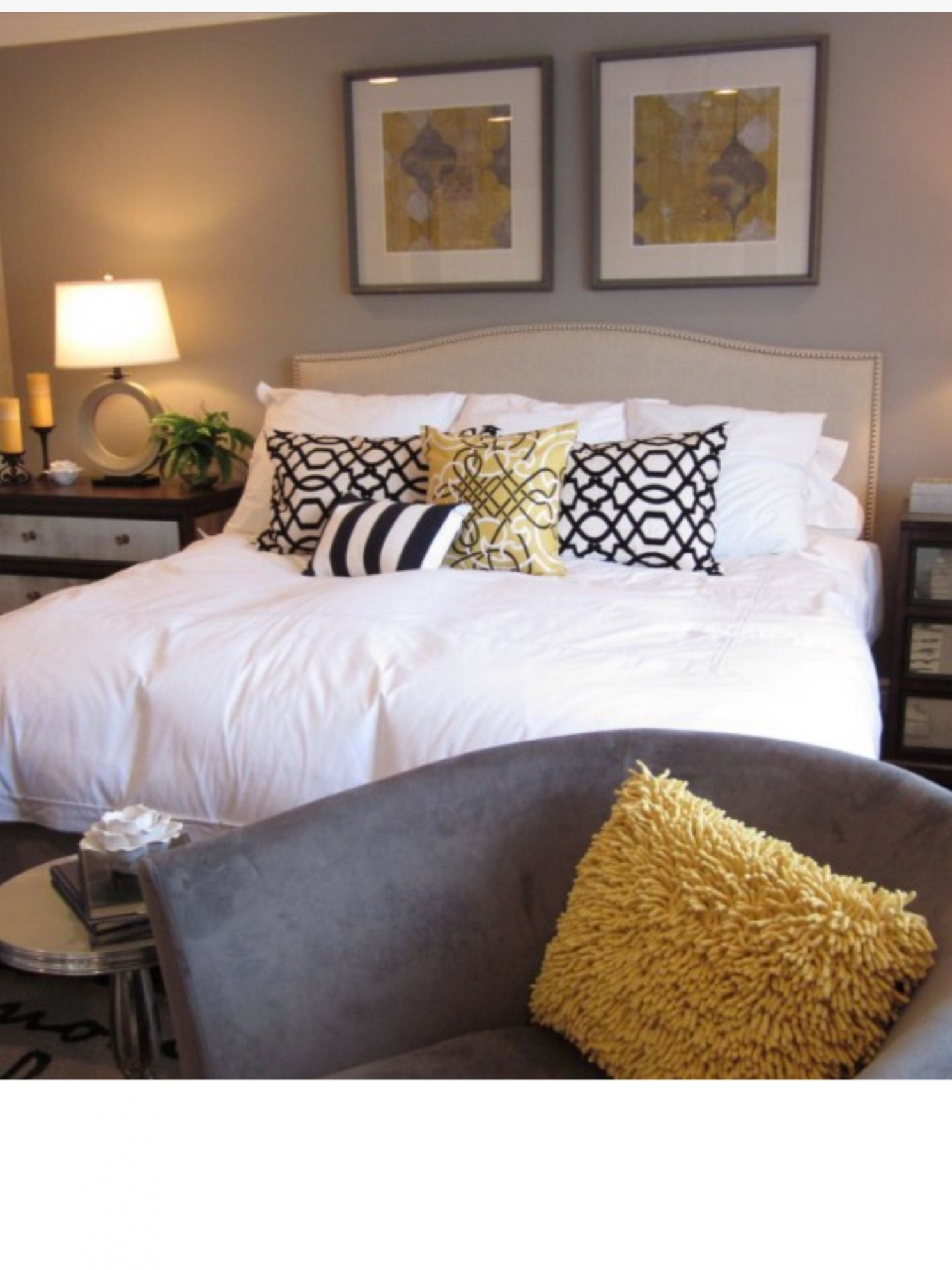 Bedroom colour scheme, black, white, mustard and beige  Bedroom  - Bedroom Ideas Mustard