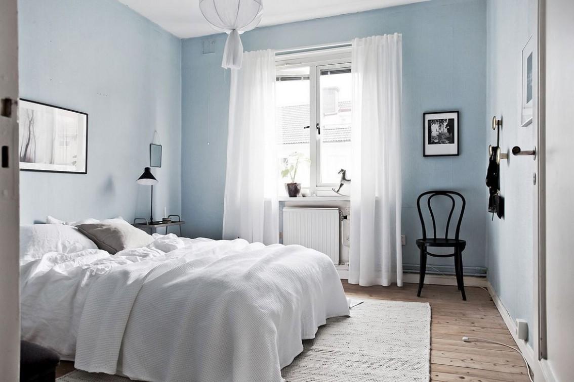 Bedroom with light blue walls  Blue bedroom walls, Blue master  - Bedroom Ideas Light Blue Walls