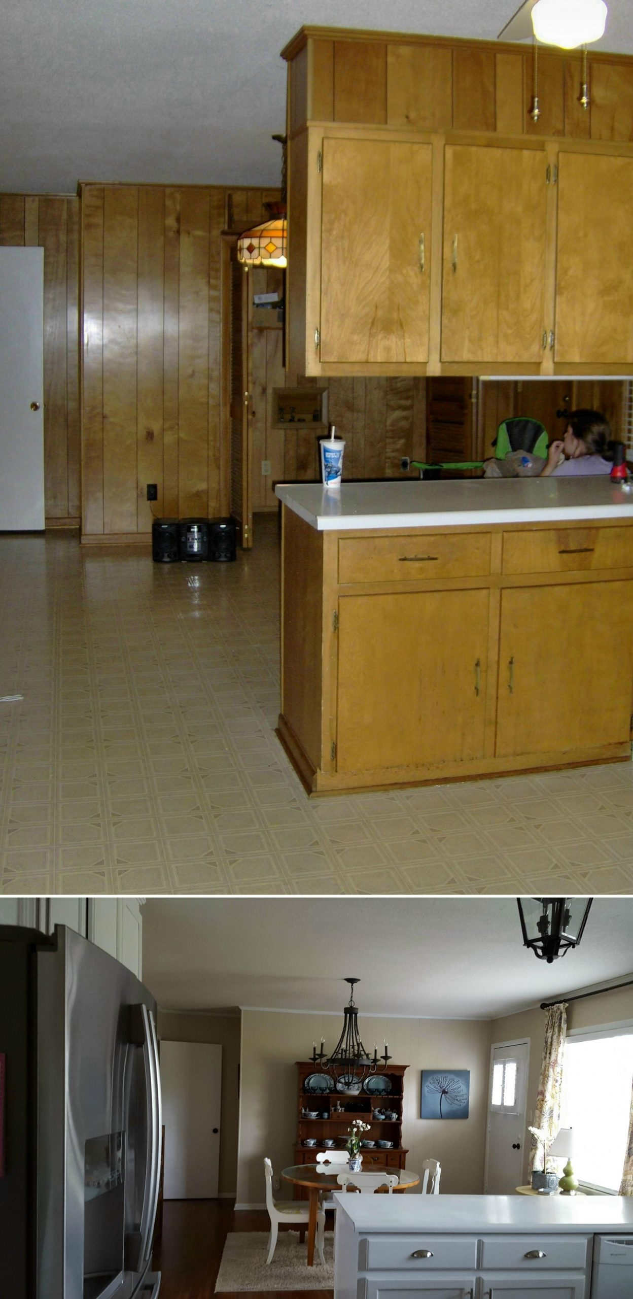 Before and after: I removed the upper cabinets over the peninsula  - Replace Just One Wall Of Kitchen Cabinets